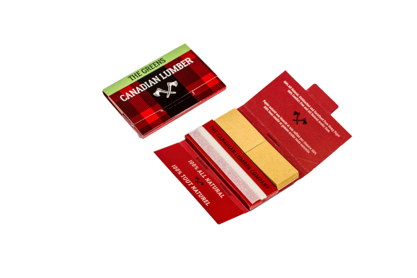 Canadian Lumber premium all natural rolling paper packs with papers, filters, and rolling tray, The Greens