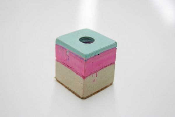 Canadian Lumber cone holder cannabis accessory product, pink, teal, and beige alternate layered chalk colour series edition