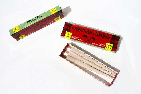Canadian Lumber pre rolled cones made using The Greens premium natural rolling paper