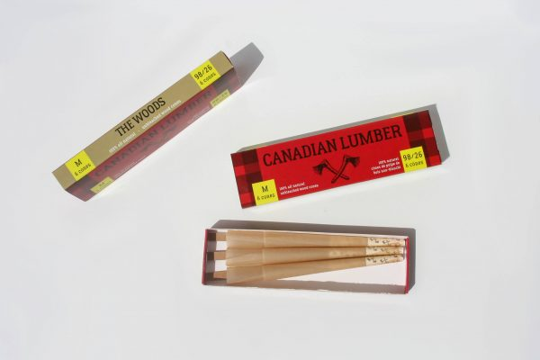 Canadian Lumber pre rolled cones made using The Woods premium natural rolling paper