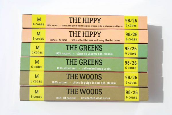 Canadian Lumber pre rolled cone line made from natural rolling papers The Hippy, The Green, The Woods