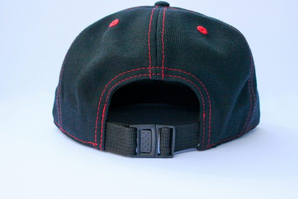 Canadian Lumber flat brim black snapback hat, customizable, 80% wool, 20% acrylic, 3 layer stitching and custom red ax logo, back view