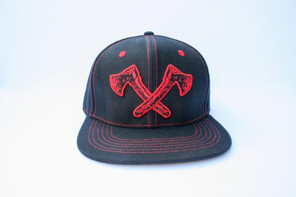 Canadian Lumber Flat brim style hat with 3D red axes embroidered logo and