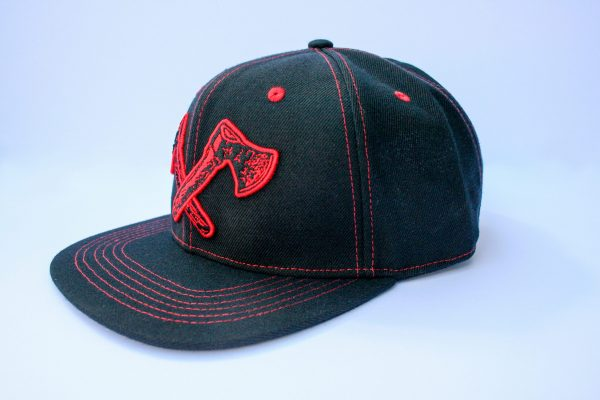 Canadian Lumber flat brim black snapback hat, customizable, 80% wool, 20% acrylic, 3 layer stitching and custom red ax logo, side view