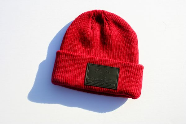 Canadian Lumber Cannabis apparel brand Merino wool toques and beanies, red with black double ax logo - front view