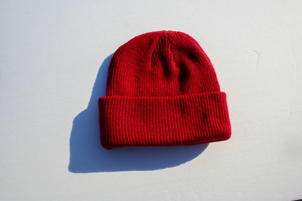 Canadian Lumber Cannabis apparel brand Merino wool toques and beanies, red with black double ax logo - back view