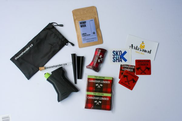 Array of Canadian Lumber and partner brand cannabis accessory products, available in our Collab Kit