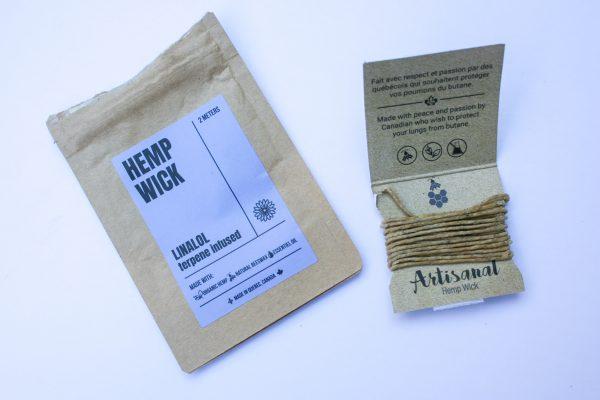 artisanal handmade terpene infused hemp wick, natural, organic materials, helps prevent butane inhalation, burns chemical free - package view