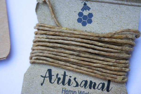artisanal handmade terpene infused hemp wick , natural, organic materials, helps prevent butane inhalation, burns chemical free - closeup view