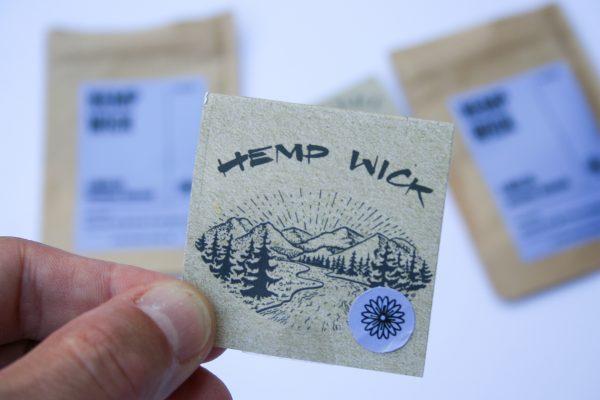 artisanal handmade terpene infused hemp wick - only natural, organic materials, helps prevent butane inhalation, burns chemical free - hemp wick logo