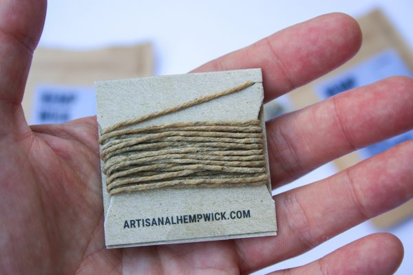 artisanal handmade terpene infused hemp wick, natural, organic materials, helps prevent butane inhalation, burns chemical free - center view