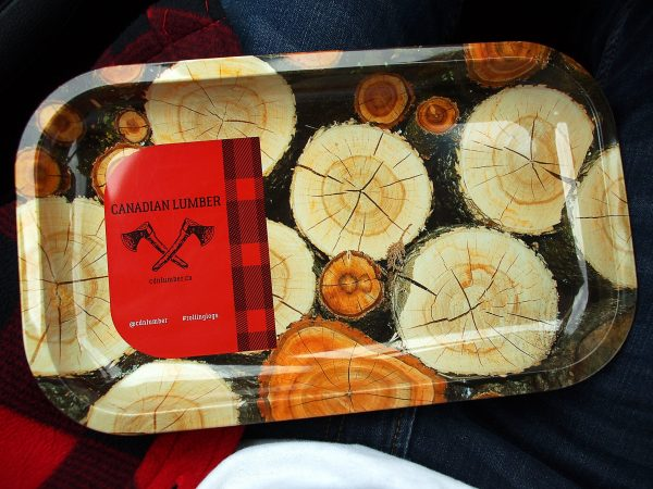 Canadian Lumber Cannabis Accessory brand tin rolling tray, log design - durable material for long-term use