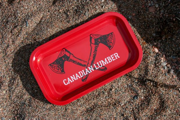 Canadian Lumber rolling tray Big Red design, solid tin, temperature resistant, dishwasher safe cannabis accessory tray - top view