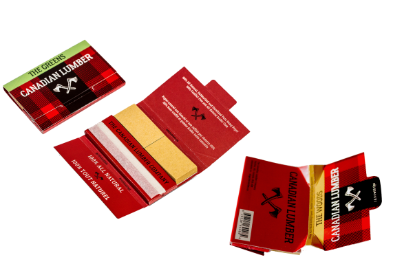 Canadian Lumber premium all natural rolling paper packs with papers, filters, and rolling tray, The Woods, The Greens, The Hippy