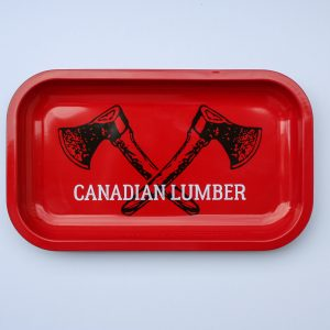 Canadian Lumber rolling tray Big Red design, solid tin, temperature resistant, dishwasher safe cannabis accessory tray - center view